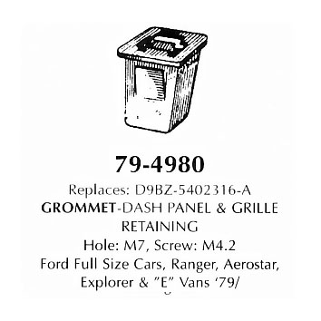 Grommet dash panel & grille retaining