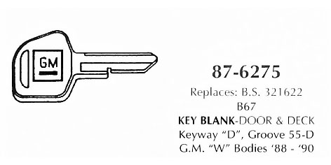 Key blanks - door & deck