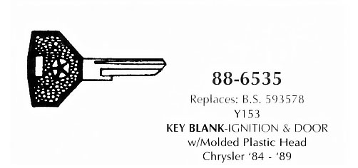 Key blank ignition & door