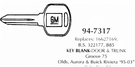 Key blank door & trunk
