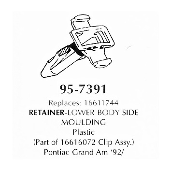 Retainer- lower body side Moulding, plastic