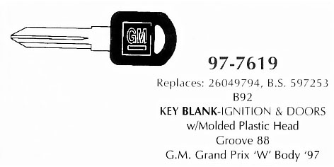 Key blank door & ignition